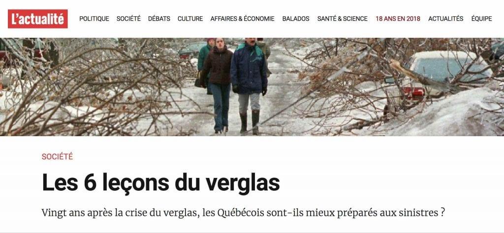 Gestion de crise verglas Québec
